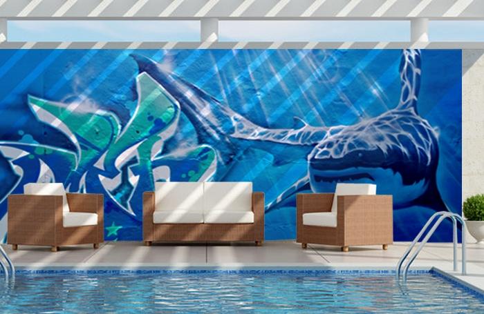 décoration street art - mur tour de piscine